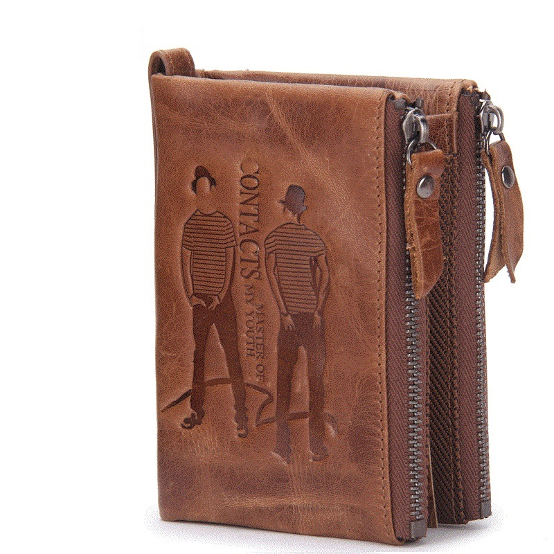 The new 2017 man purse leather hand bag short euramerican fashion leisure zero wallet mad cow