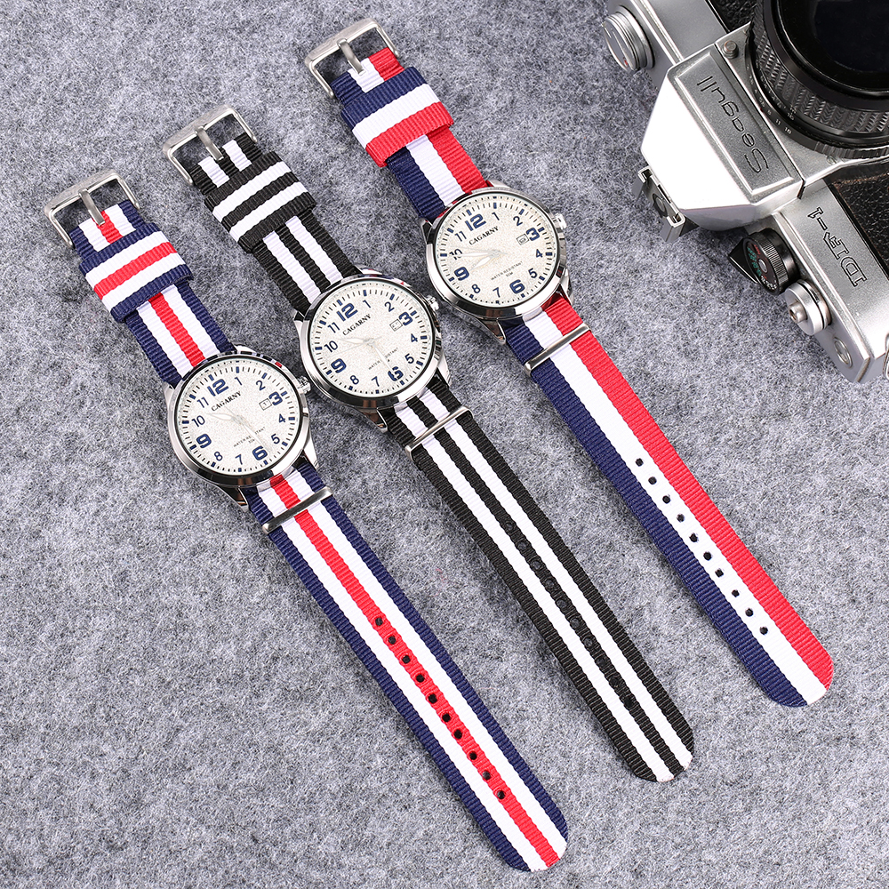 fashion nylon weaved watchband cagarny watches for men drop shipping mens watches (1)