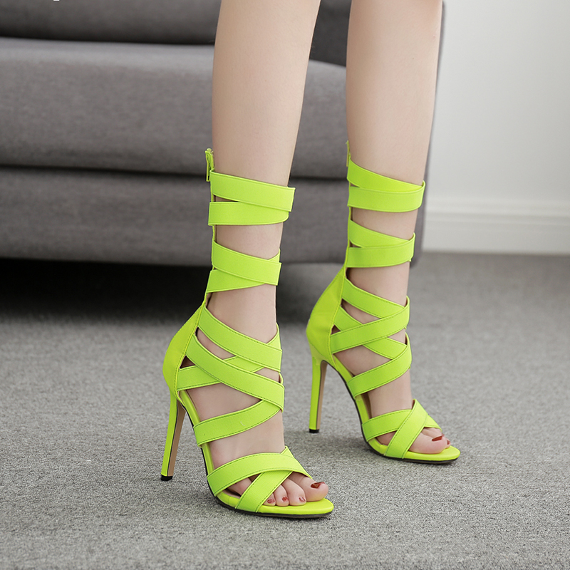 Shoes Woman Gladiator Sandals Narrow Band Pumps Summer High Heels Shoes Peep Toe Zip Slides Plus Size Ladies Zapatos Mujer Green