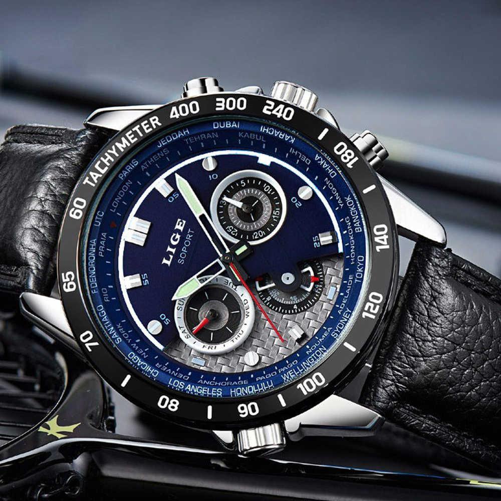 LIGE mode chronographe Sport hommes montres haut de gamme montre à Quartz de luxe Reloj Hombre 2017 horloge mâle heure Relogio Masculino