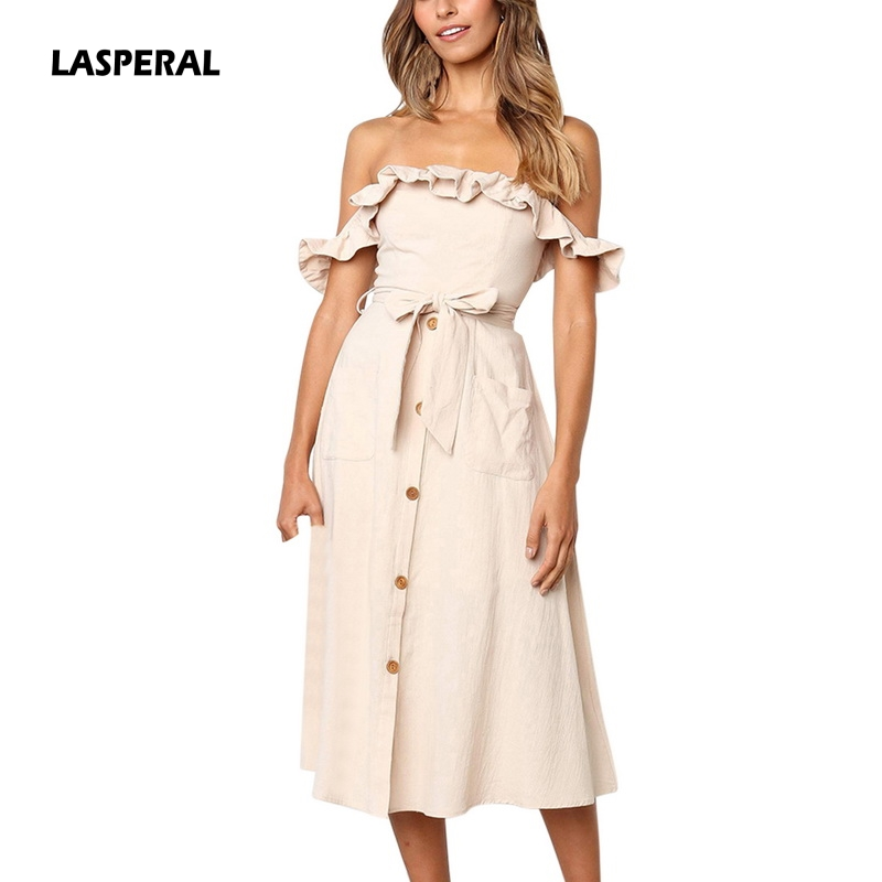 LASPERAL 2019 Women Off Shoulder Slash Neck Ruffles Solid Casual Single-breasted Lace Up Bow Dress Holiday Summer Beach Vestidos