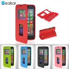 Двойной Вид из окна откидная кожа 4.5for Nokia Lumia 630 чехол для Microsoft Nokia Lumia 630 телефон Обложка чехол