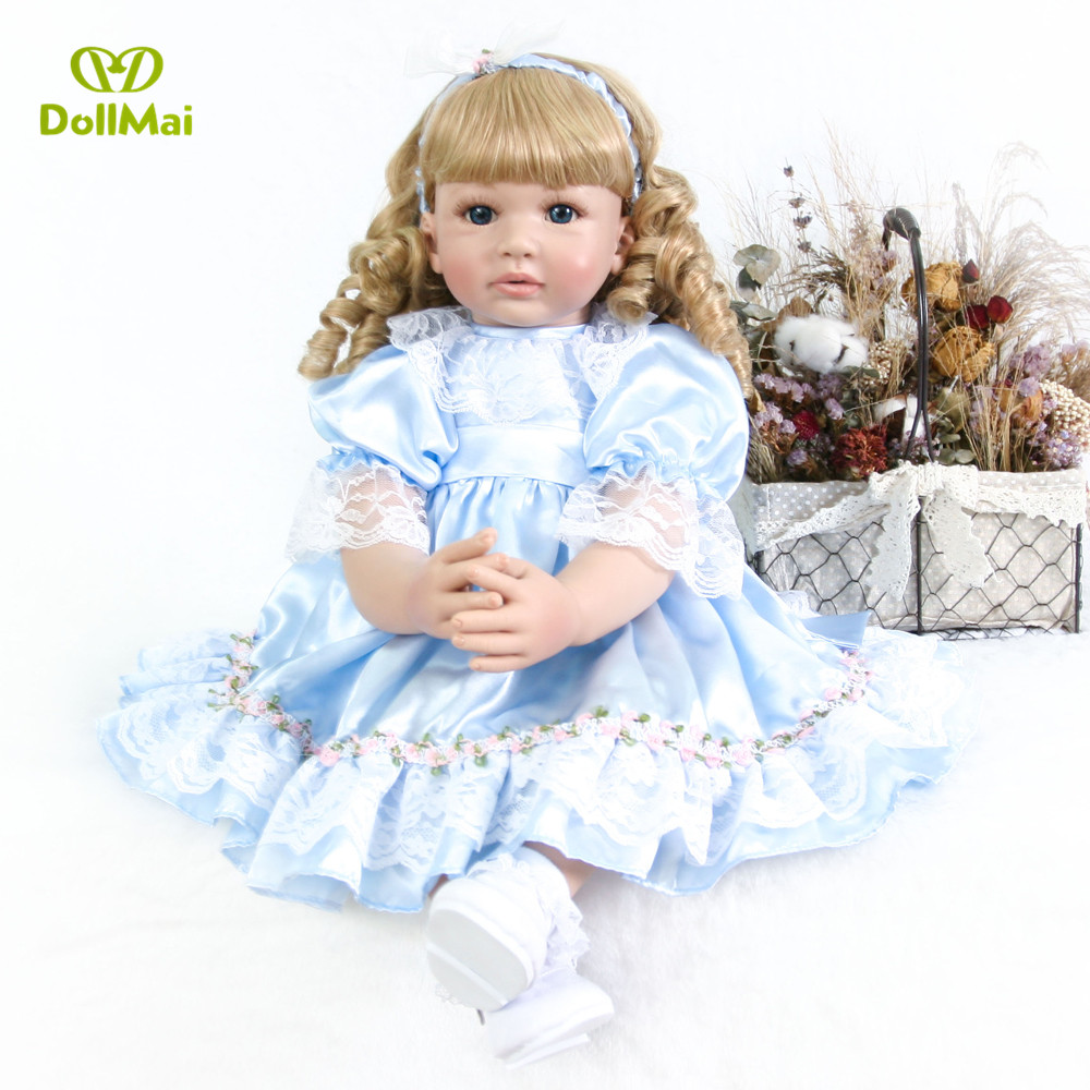 60cm bebe princess reborn  Silicone  Baby Doll Toys Like Vinyl toddler girl blond curly hair alive doll child Birthday Gift  60cm bebe princess reborn  Silicone  Baby Doll Toys Like Vinyl toddler girl blond curly hair alive doll child Birthday Gift