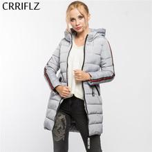 d2a86391945 CRRIFLZ зимой оформление высокое качество Теплая зимняя кофта Для женщин  пальто с капюшоном парки женские верхняя