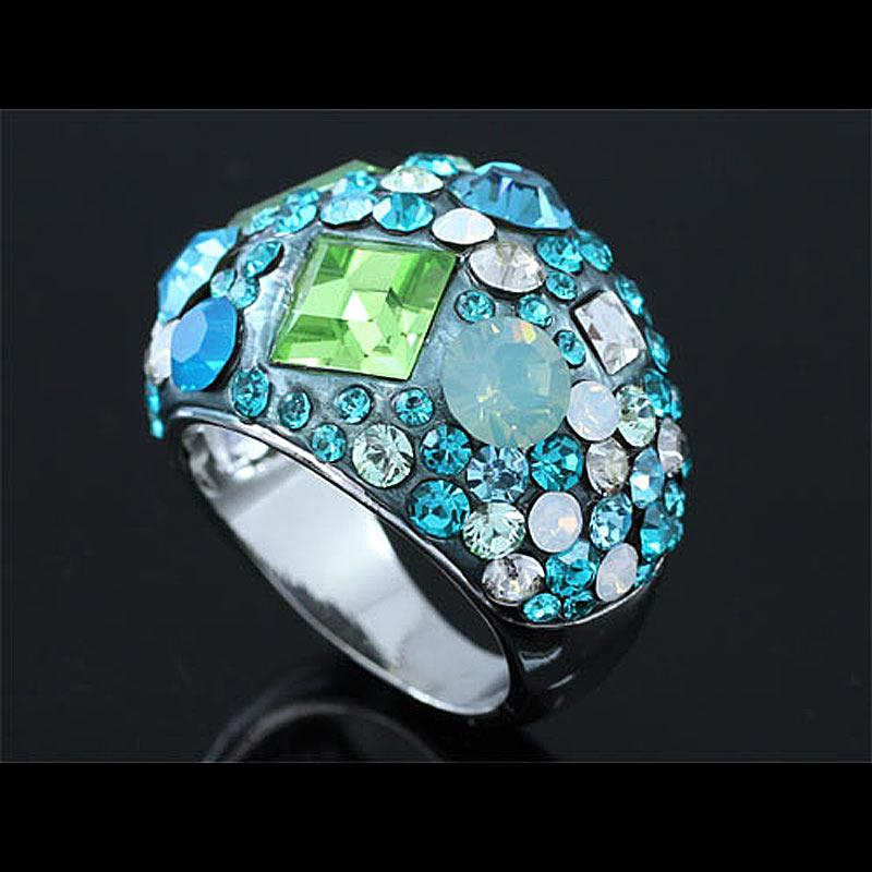 Peacock Star Shipping Blue Sparkling Ring use Austrian Crystal CSR160