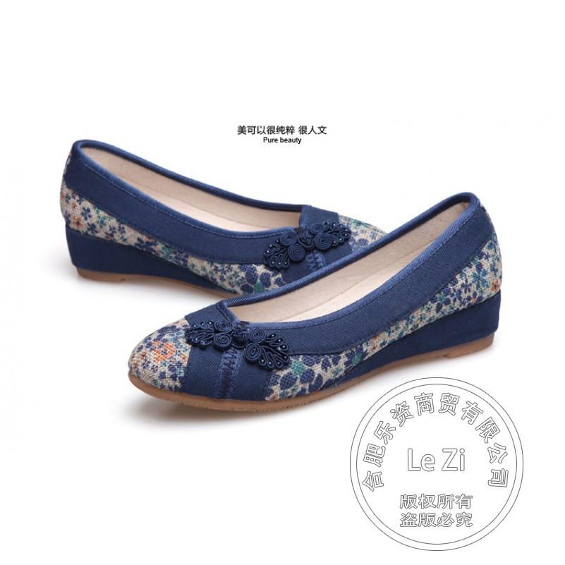 Beige Blue Canvas Slip On Retro Vintage Floral Flowers Pumps Single Work Dress Shoes With Low