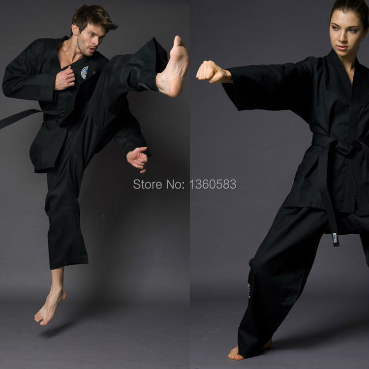 Black Adult Women Men Unisex Taekwondo & Karate Clothes long sleeve dobok taekwondo ITF Clothing Suit Fitness Sport Suit direct factory price of a box slides 50 with microscope cover glass 100 frosted edge
