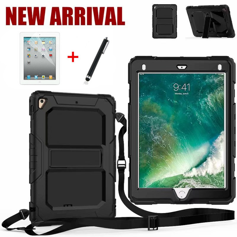 Case For New IPad 9.7 2017 2018 For IPad Air 1 2 Kids Safe Shockproof Heavy Duty Silicone+PC Kickstand Cover +Shoulder Strap