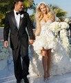 Мода привет-ло свадебное платье короткий передний долго назад сексуальный милая-плеча спинки Highh низкая невеста свадебное платье
