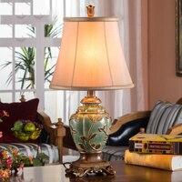 Led Table lamp Lustre Retro Table Lamps For Living Room Bedroom Light Resin Desk Lamp Fabric Lampshade Home Lighting abajour