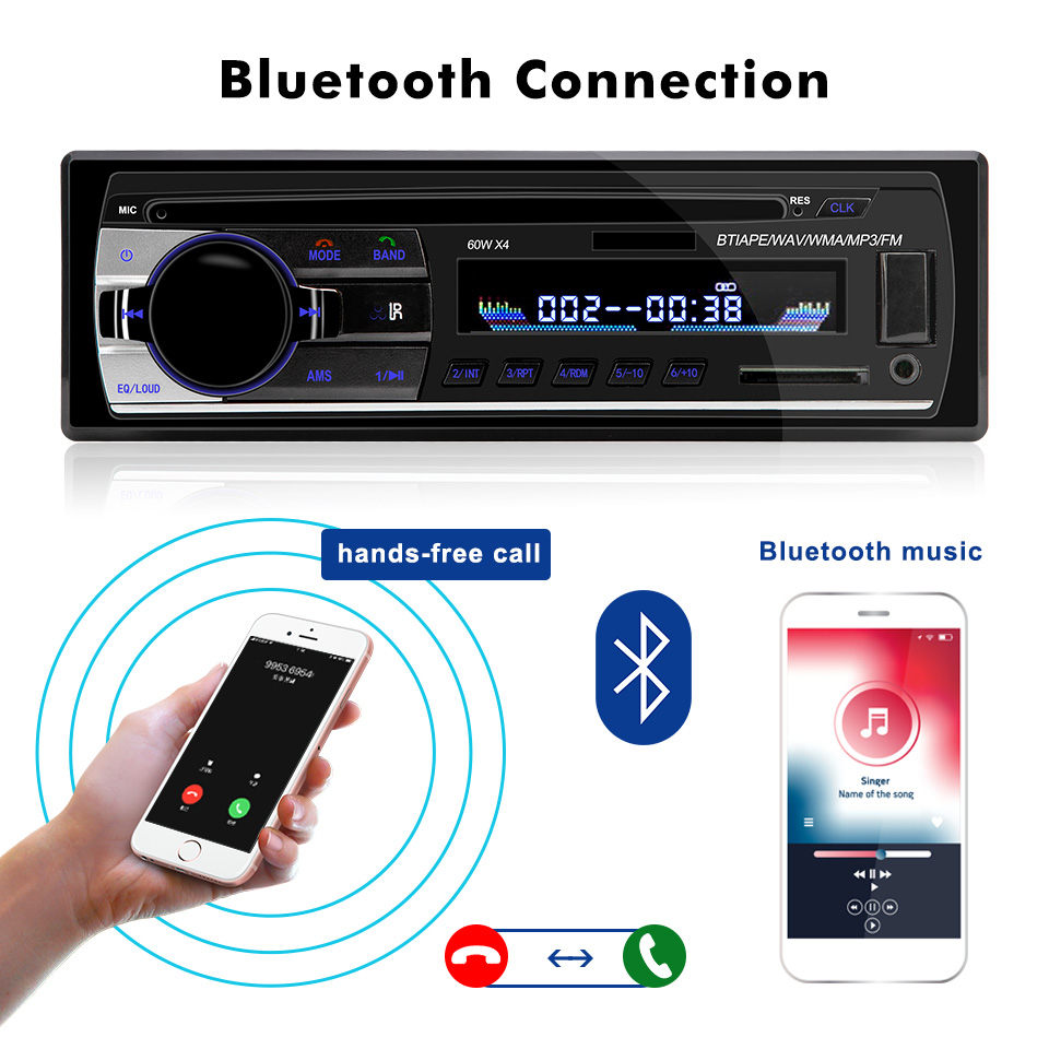 1 Din 12V Bluetooth 2.0 Auto Stereo Autoradio Car Radios With Remote Control In-dash FM Radios Aux SD USB MP3 Car Audio Players
