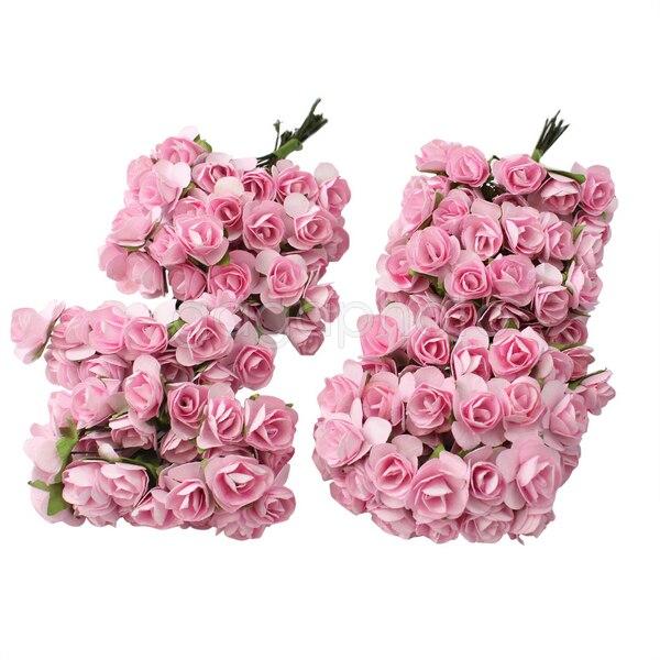 New Pretty 144 X Light Pink Mini Artificial Paper Rose ...
