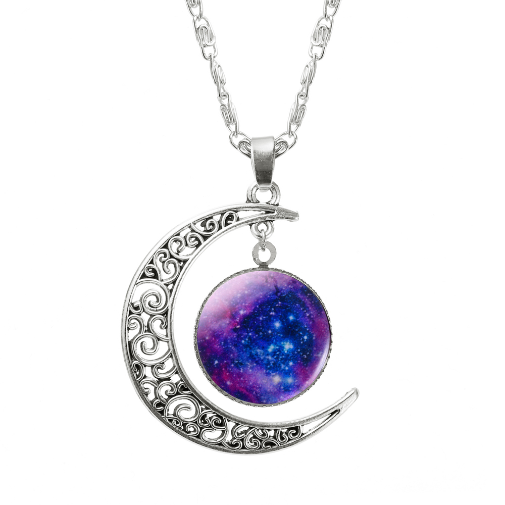 1 Pcs Hollow Moon & Glass Galaxy Statement Necklaces ...