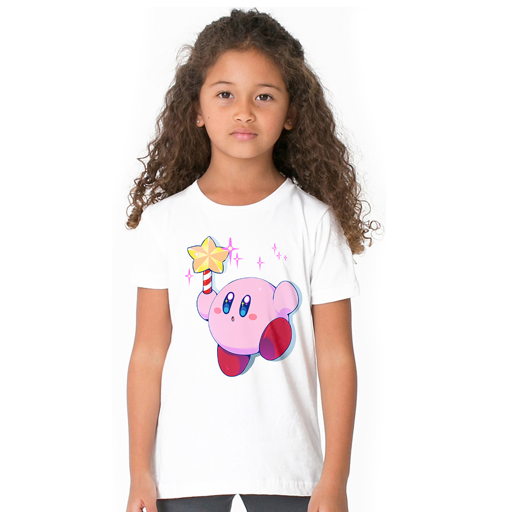 Kirby Star Allies Characters cute t-shirt for baby boys girls summer short sleeve crew neck tops tees cartoon game t shirt kids