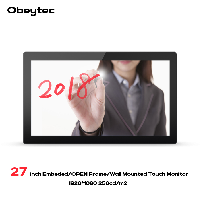 Obeytec 27 inch LCD 16:9 P CAP Capacitive Open Frame Touch Monitor, FHD Resolution, PCAP touch screen, 10 Points Touch