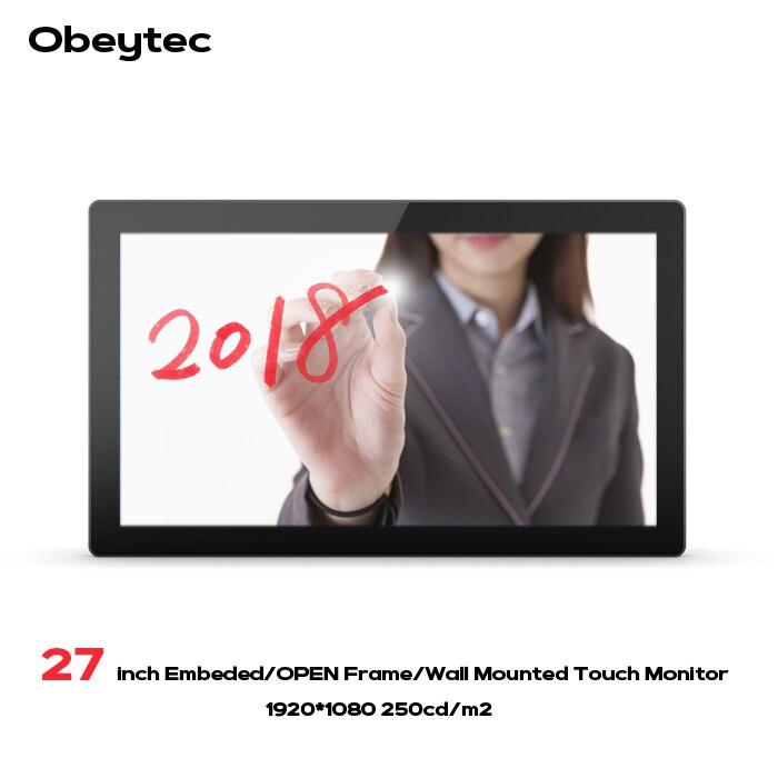 Obeytec 27 pouce LCD 16:9 P-CAP Capacitif Cadre Ouvert Tactile Moniteur, FHD Résolution, PCAP écran tactile, 10 Points Tactile