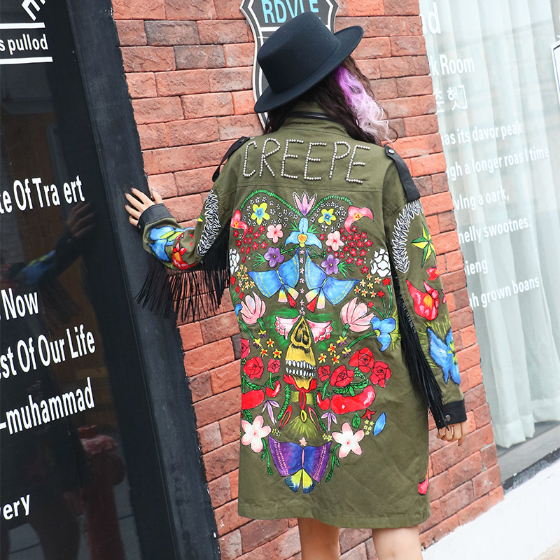 SexeMara Korean rivet wild coat printing tassel zipper Windbreaker free shipping