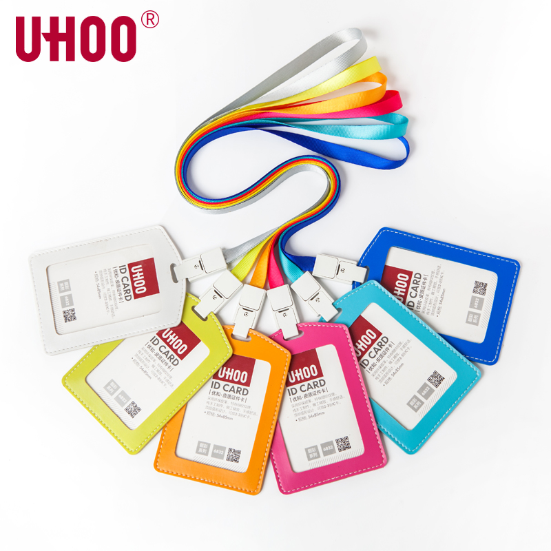 UHOO 6831 6832 PU Leather Bank Credit Card Holder Work Card ID Name Badge Card Holders With Lanyard -Vertical And Horizontal