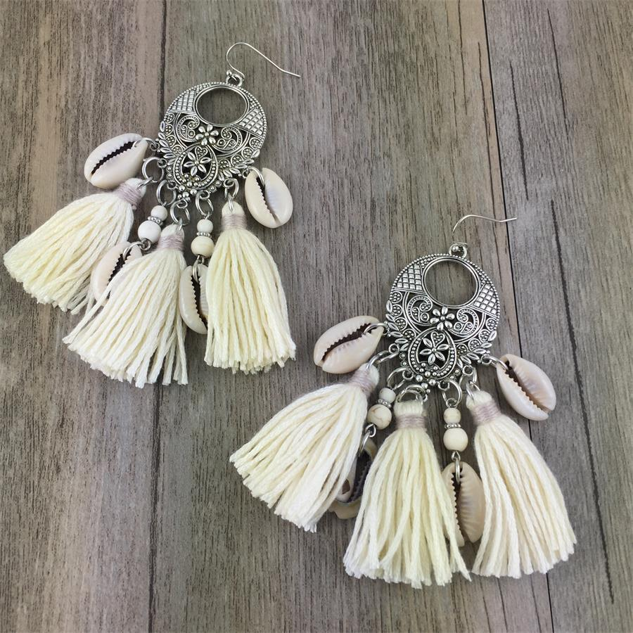 Женские длинные серьги с кисточками Boho, 2 цвета, серьги капельки из натурального Бохо с кисточками|long tassel earrings|tassel drop earringstassel earrings | АлиЭкспресс