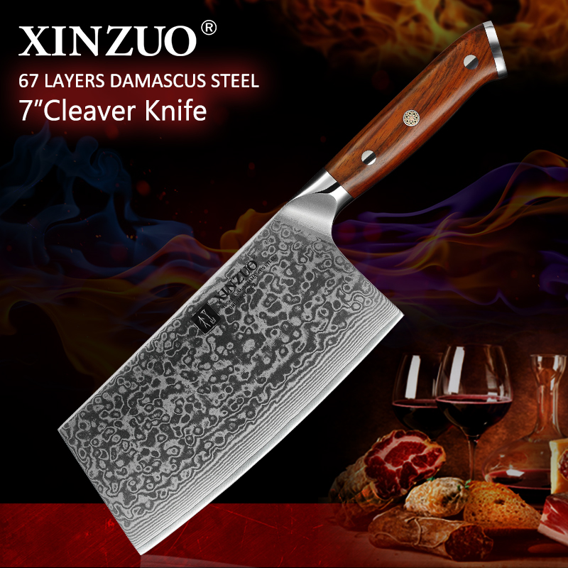 XINZUO 6 5 inches Big Chopping Cleaver Knife Damascus Steel Kitchen Knives Rosewood Handle Chinese Style