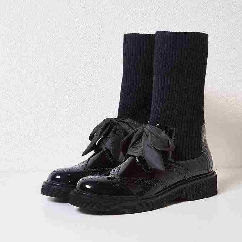 Krazing pot 2019 hakiki deri Avrupa tasarım med topuk Kış yuvarlak ayak moda pist streç örme blok yarım çizmeler l98