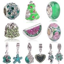 Ranqin Lovely Green Beads Fit Original Pandora Bracelet Necklace Big Hole Diy Charms For Women Enamel Heart Shape Pendant