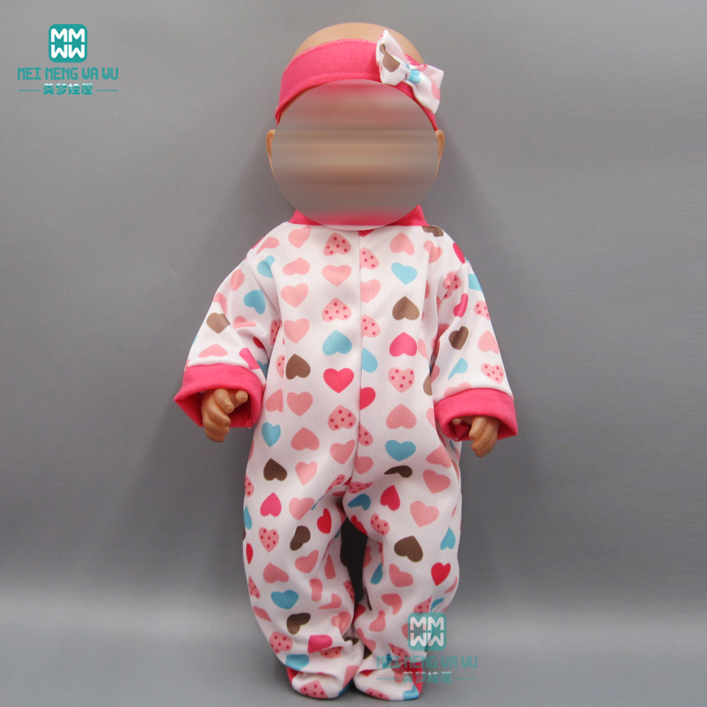 Baby Clothes For Doll Fit 43cm New Born Dolls Accessories And American Doll Lovely Cartoon Set Clothes + Hair Band + Pacifier