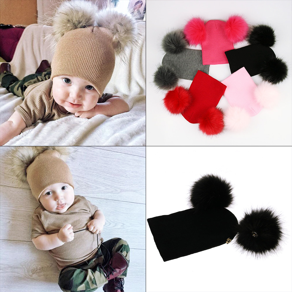 47fc44be9b3 Detail Feedback Questions about Faux Fur Cap Toddler Kids Cute Warm Ear  Infant Baby Hats With Pom Pom Bobble Newborn Children Knit Beanie Baby  Accessories ...