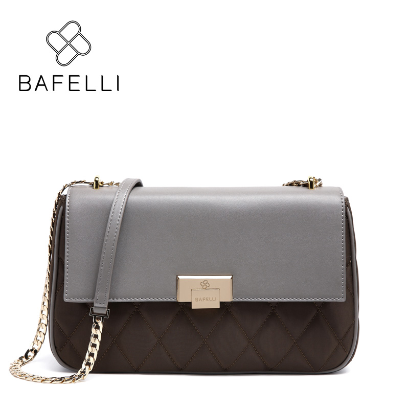 BAFELLI split leather fashion diamond lattice shoulder bag black gray purple bolsa feminina luxury handbags women bags