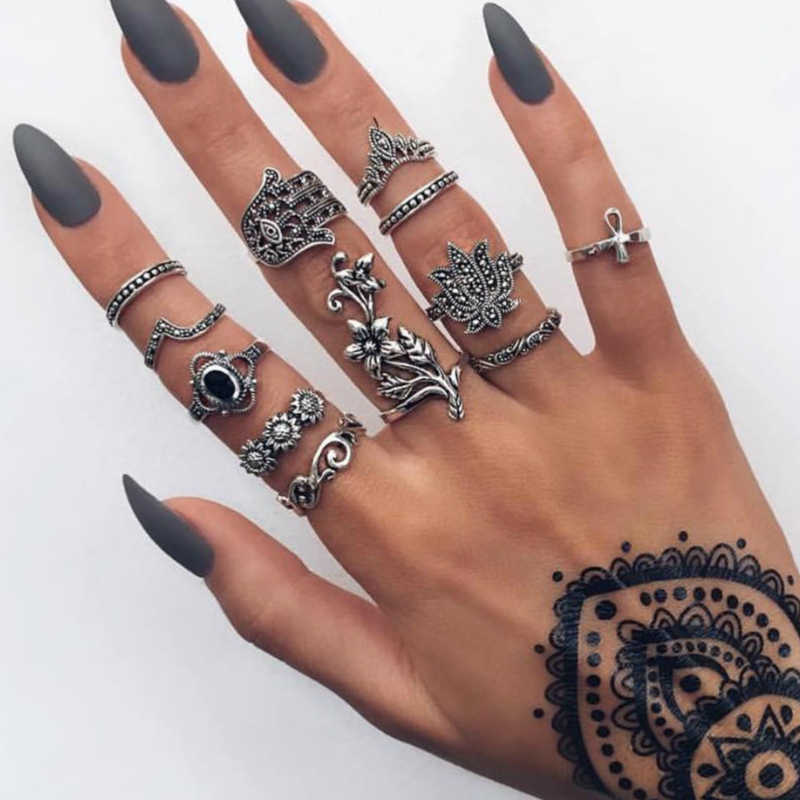 Vintage Bohemian Ancient Silver Flower Punk Palm Element Ring Sets Women Fashion Party Wedding Jewelry Gifts