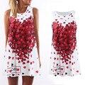 2016 Estilo Verão Plus Size solta sem mangas A-line vestido estampado Coração Vermelho Encantador Das Mulheres da Cópia Do Vintage Vestidos Casuais