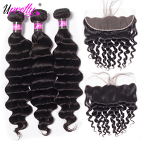 Upretty Brazilian Hair Weave Bundles With Closure Loose Deep Wave Bundles With Frontal Remy Human Hair 3 Bundles With Closure