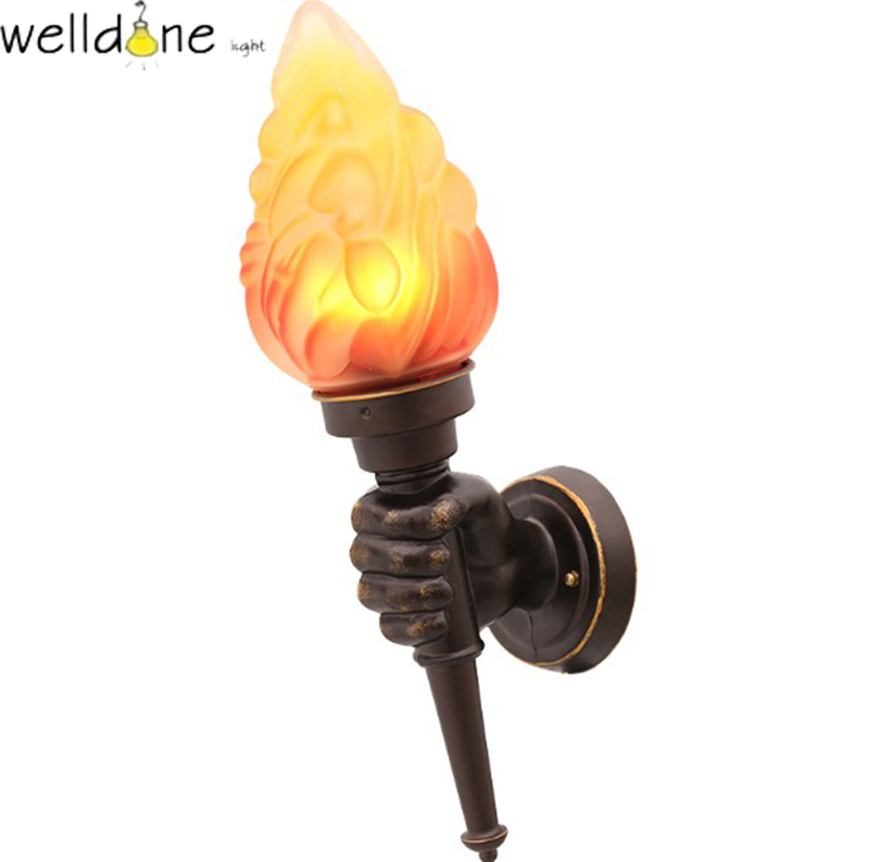 f891e50bd40 LED water proof alluminum torch flame wall lamp for garden europea style  good quality free shipping
