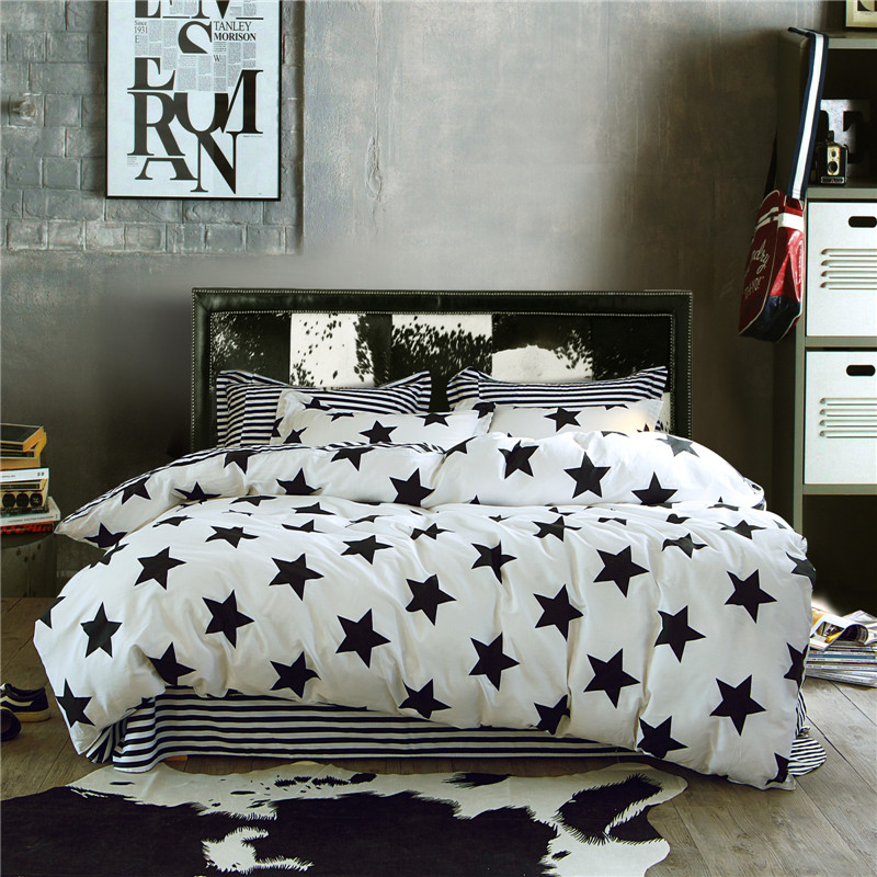 100% Cotton Simple Bedding Set 4Pcs boys cartoon Home Four summer Stars black white twin queen king Duvet Quilt Cover Bed Set|Bedding Sets| |  - title=