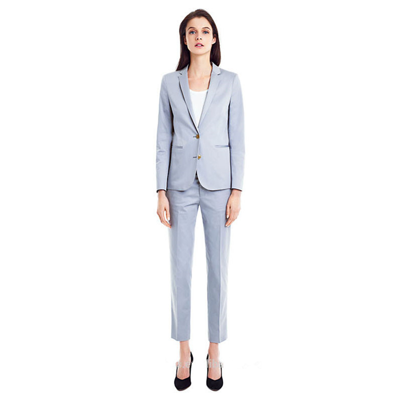 Women Pant Suits Light Sky Blue Women Tuxedos Shawl Lapel Suits For Women Two Button Business Work Suits Ladies Trouser Suits Pant Suits