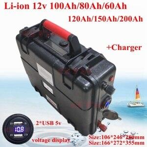 Ultra-large capacity 12V 60AH,80AH,100AH,120AH,150AH,180,200AH Lithium polymer Battery for boat motors/solar panel power bank(China)
