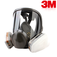 3M 6800 Full Facepiece Reusable Face Mask with 6001 Gas Cartridges Anti-Organic Vapor 7 Items for 1 Set LT100