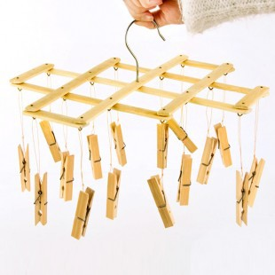 Multifunction Wooden Fold Clips 16 Wind Proff Underwear Sock Drying Rack Frame Clothes Hanger Perchas Ropa
