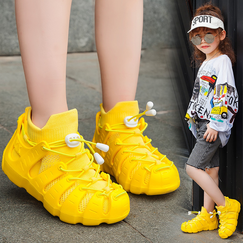 Roman Girl Fashion Shoes Jogging Sneakers Boys Running Shoes Outdoor Walking Shoes Girl Child Shoes Sock-like Sandals Slipper