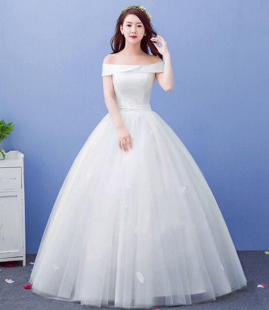 vuelos baratos de china cuello barco vestido de novia blanco vestido