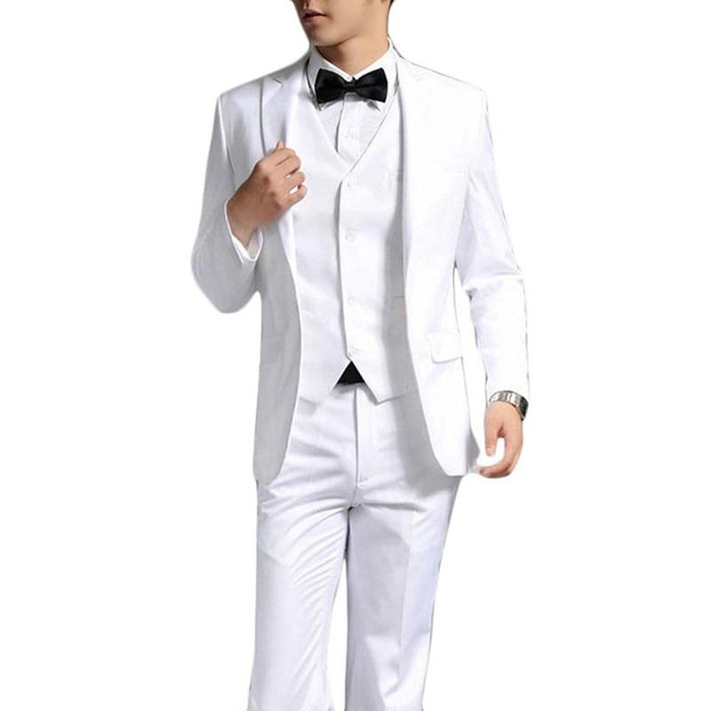 White Color Custom Made Men's Prom Suits Men's Wedding