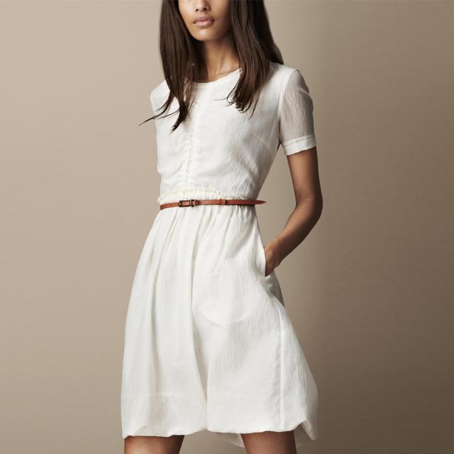Fashion 2013 elegant slim one-piece dress white skirt basic expansion skirt one-piece dress