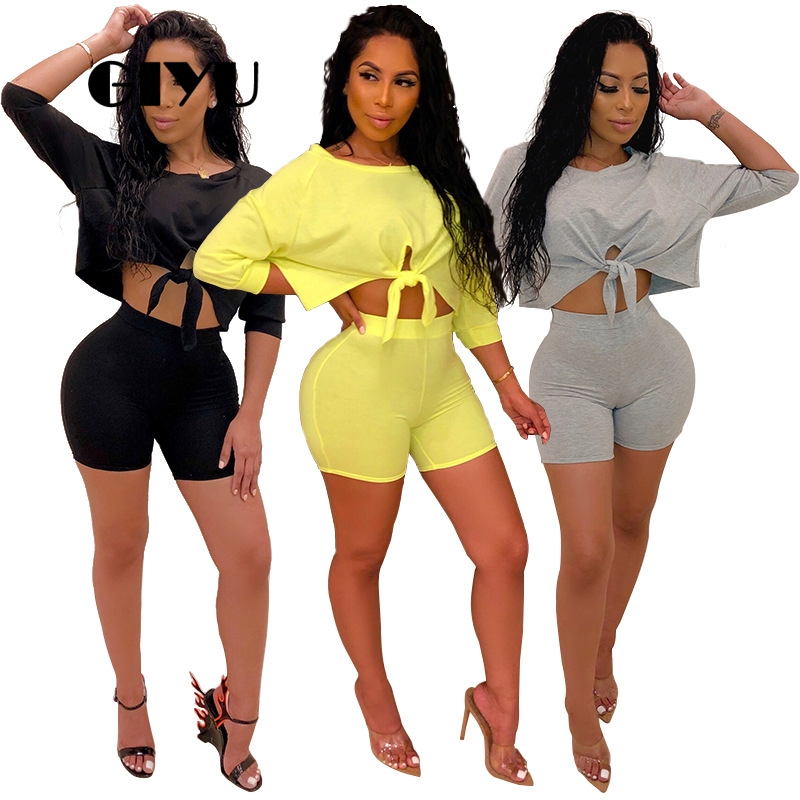 GIYU Solid Women Sets O Neck <font><b>Short</b></font> Sleeve Crop Tracksuits Tie-Up High Waist 2 Piece Set Skinny Overalls <font><b>ensemble</b></font> <font><b>femme</b></font> image