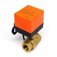 Детали для подогрева пола кондиционера миниатюрный Электрический двухходовой шаровой кран трехпроводный двухконтрольный латунный водный...