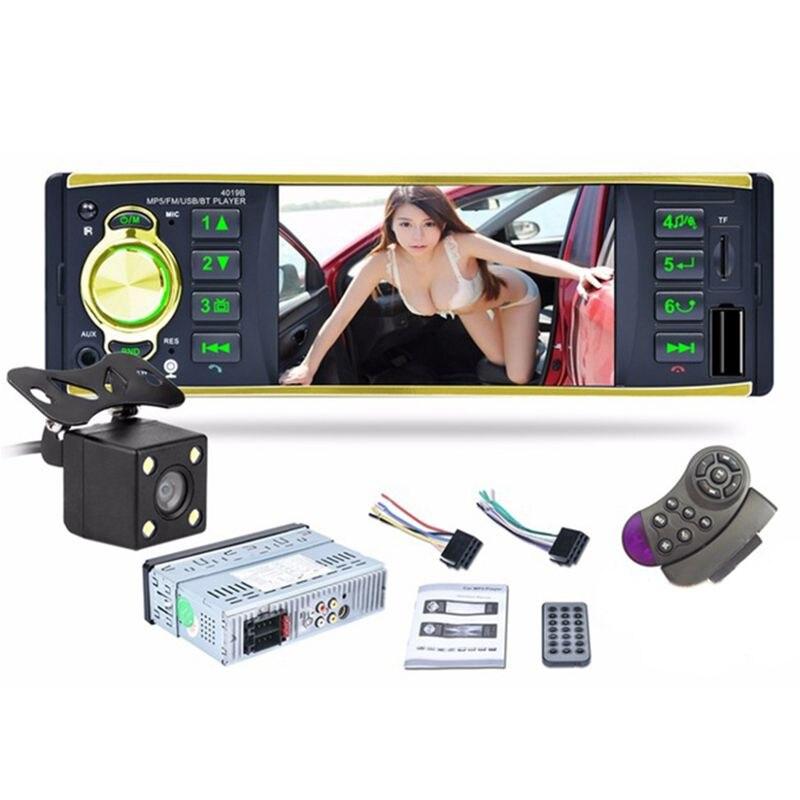 4019B 1 autoradio à écran HD DIN 4.1 lecteur Bluetooth MP5 avec caméra de recul prise en charge du volant FM AUX USB/TF
