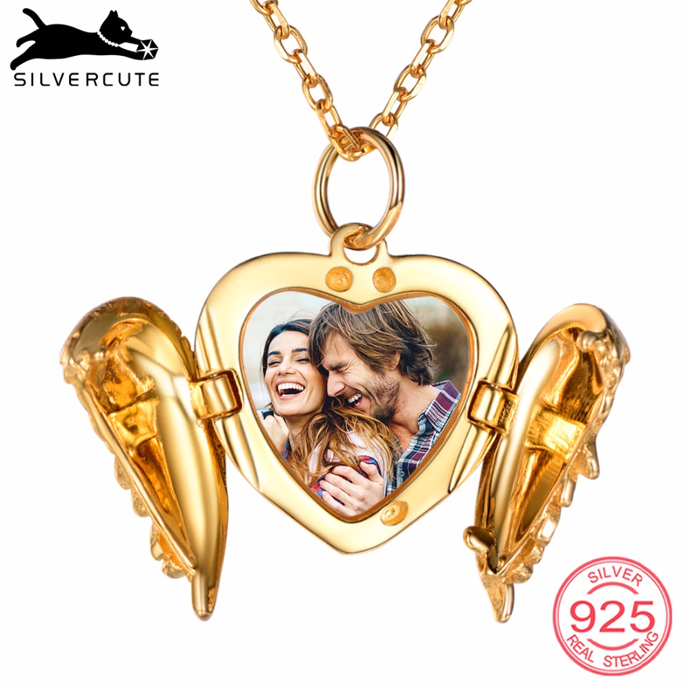 SILVERCUTE Personalized Wing Heart Locket Necklace Photo Engraved 925 Sterling Silver Custom Vintage Frame Memory Gift
