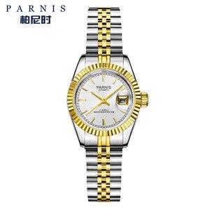 Image 5 - 26mm Parnis frauen Uhr Luxus Mechanische Damen Uhren Royal Strass Edelstahl Japan Bewegung Armband mit Calend