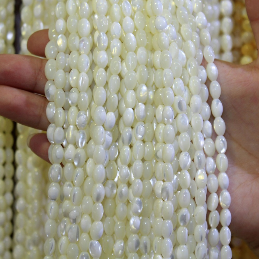 Beads Humor Natural Rice Shape Trochus Top Shell Stone White Beads For Jewelry Making Diy Bracelet Necklace 4*7/5*8/6*9 Mm Strand 15