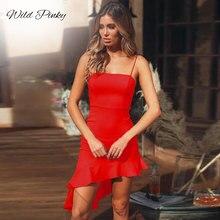 WildPinky New Strapless Spaghetti Strap Sexy Bodycon Ruffles Sleeveless Slash Neck Mini Summer Women Dress Nightclub Party