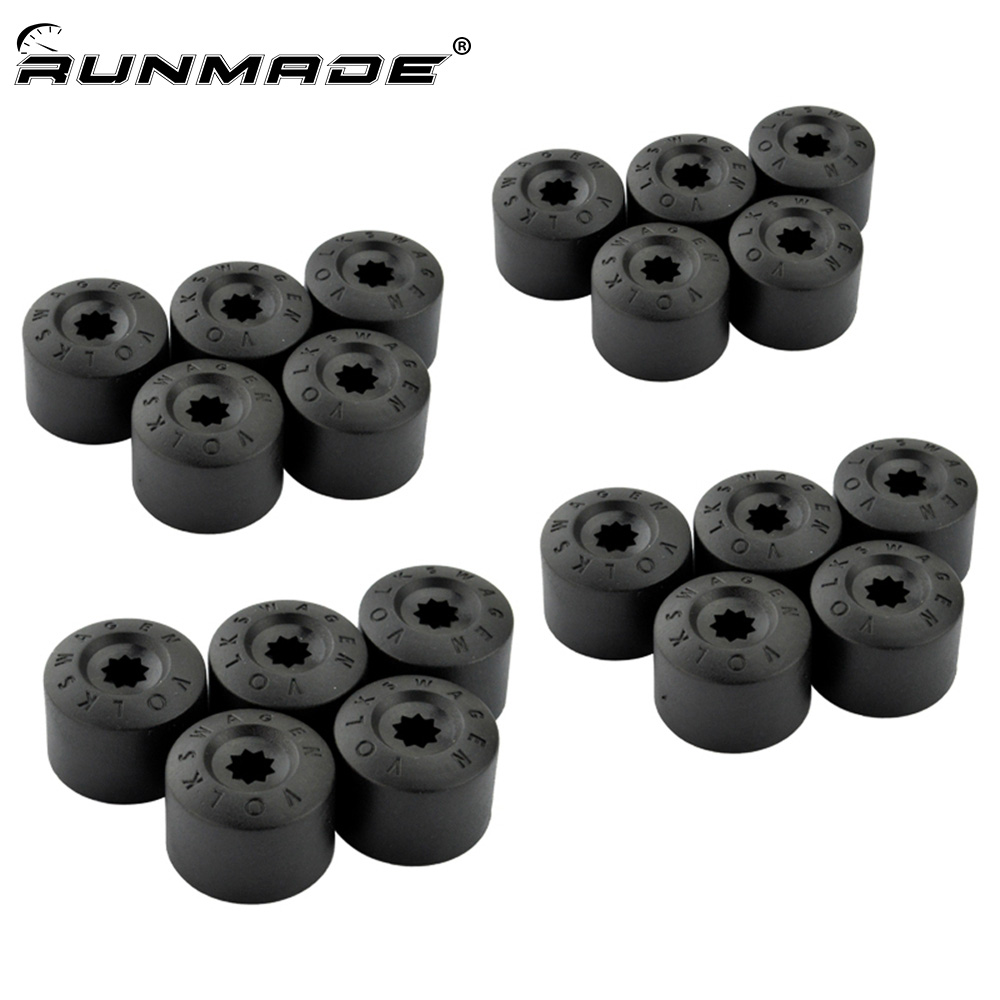 runmade 20pcs/lot Wheel Lug Nut Cover For VW Jetta Golf MK5 Passat B6 Beetle EOS Tiguan Wheel Lug Nut Caps 1K0 601 173 A